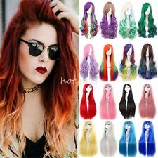 Newly Anime Womens Sexy Style Gradient Long Wavy Hair Cosplay Party Full Wigs #P