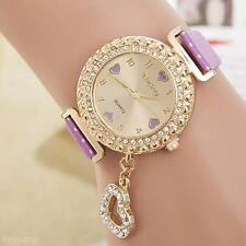 Fashion Lady Girl Rhinestone Faux Leather Band Heart Pendant Quartz Wristwatch