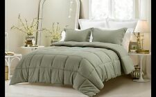 3pc Reversible Sage Green Solid and Emboss Striped Comforter Set TWIN FULL -LotA