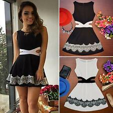 Sexy Women Summer Sleeveless Lace Casual Evening Party Cocktail Short Mini Dress