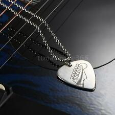 Engraved Stainless Steel Guitar Pick Necklace with 20in Ball Chain N0U1