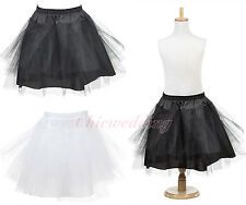 White Black Hoopless Children Petticoat Bridal Flower Girls Underskirt Slips HOT