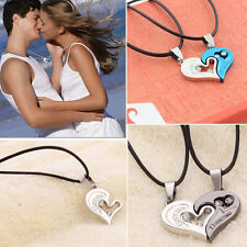 1 Pair Men Women I Love You Heart Pendant Lover Couple Necklace Stainless Steel
