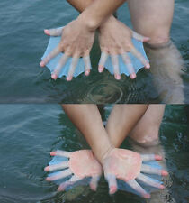 Swimming Finger Webbed Gloves Frog Hand Fins Palm Flippers Paddle Superb S M L
