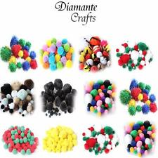 Pom Poms Mixed Designs / Sizes - Glitter Stripe Woolly Plain - Craft Fluffy