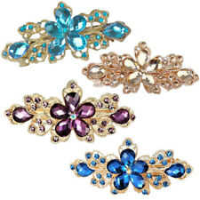 Women Bridal Wedding Party Flower Crystal Rhinestone Barrette Hair Clip Pin
