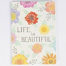 Sass & Belle A5 Plain Paper Notebook Note Book Floral LIFE IS BEAUTIFUL