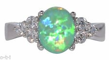 Australian Spring Bud Green Fire Opal Simulated Diamond Sterling Silver Ring