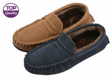 Mens Dunlop Genuine Leather Suede Moccasin Slippers Soft House Shoes Sizes