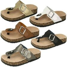 Ladies Slip On Synthetic Leather Casual Sandal Spot On Label-F10294