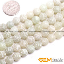 "Round Carved Hua Show Jade Gemstone Jewelry Making Loose Beads 15 ""  Yao-Bye"