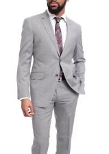 Mens Extra Slim Fit Light Heather Gray Two Button Super 140's Wool Suit