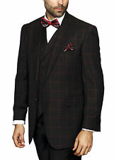 Mens Black With Red Windowpane Three Piece Two Button Wool Suit