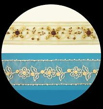 """Unotrim 2"""" Ivory Organza, Netting Beaded Gold Brown Sequins Embroidery Lace Trim"""