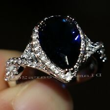 Sz5-10 Jewelry Pear Cut 10k white gold filled sapphire Wedding Heart Ring gift