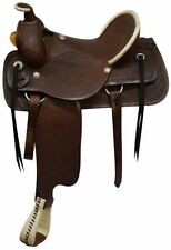 "NEW WESTERN 15"" LEATHER BARREL RACING TRAIL PLEASURE HORSE SADDLE WITH TACK SET"