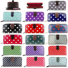 GIRL LADIES OILCLOTH CANVAS POLKA DOTS PATTERN ZIP Coin Purse Wallet Card Holder