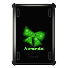 Monogrammed OtterBox Defender for ipad Mini / Air Green Black Bow Ribbon Name
