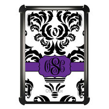 Monogrammed OtterBox Defender for ipad Mini / Air Black White Purple Damask