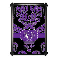 Monogrammed OtterBox Defender for ipad Mini / Air Purple Black White Damask