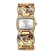 WEIQIN Ladies Bracelet Watch Sexy Leopard Rhinestone Square Dial Quartz Movement