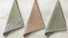 Dunroven House Woven Cotton Ticking Stripe Kitchen Tea Towels - Black, Red, Navy