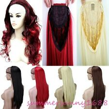UK Ladies Wig Fall Clip In on Hair Piece Half Wig Fall Synthetic Real Thick S031