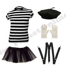 LADIES FRENCH MIME ARTISTE ARTIST BERET T SHIRT GLOVES BRACES TUTU FANCY DRESS
