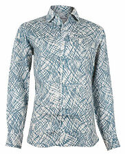 Brioni Men's Blue Linen Floral Dress Shirt Long Sleeve, sizes III, IV, V, VI