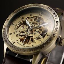 Vintage Men's Bronze Skeleton Dial Automatic Mechanical Sport Wrist Watch U7I1