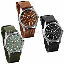 Casual Men's Military Army Sports Quartz Date Luminous Wrist Watch Nylon Strap
