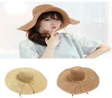 Chic Ladies Womens Wide Brim Floppy Hat Folding Summer Straw Beach Cap Vocation