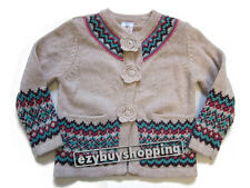 Fairisle Hem Stone Beige Winter Jacket Girls Cardigan