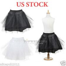 Hoopless Tulle Short Flower Girl Petticoat Children Underskirt Slips Crinoline