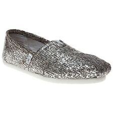 New Womens Toms Grey Metallic Classic Wool Shoes Canvas Slip On