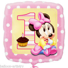 """18"""" Disney Baby Minnie Mouse Happy 1st Birthday Girl Party Square Foil Balloon"""