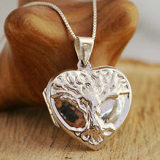 925 Sterling Silver Heart Locket Necklace Embossed Tree Of Life Pattern & Boxed
