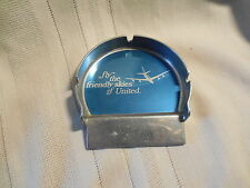 Vintage United Airlines pewter ashtray Fly the friendly skies