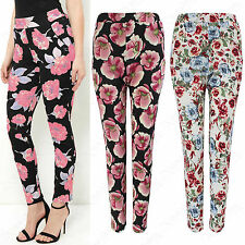 NEW LADIES FLORAL PRINT STRETCH CIGARETTE TROUSERS WOMENS LOOK LONG WAFFLE PANTS