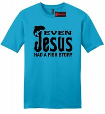 Even Jesus Had a Fish Story Mens Soft T Shirt Funny Religious Fishing Tee Z2