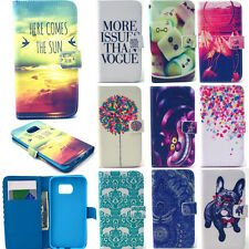 Patterned Card Holder Wallet Case for Samsung S6 Edge iPhone 6S Plus Phone Cover