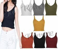 New Women Ladies V Neck Knitted Ribbed Plain Bralet Crop Top Sleeveless Vest Top