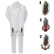 6pc Baby Toddler Kid Teen Boys Formal Baptism Mary White  Tuxedo Suit Stole S-20