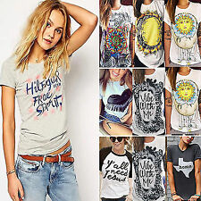Womens Graphic Letter Print T-Shirts Summer Punk Gothic Tops Blouse Tees Shirt