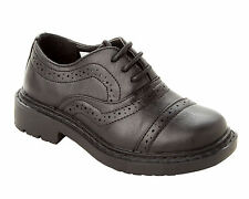BOYS BLACK LACE UP OXFORD BROGUE SMART SCHOOL WEDDING FORMAL SHOES UK SIZE 10-2