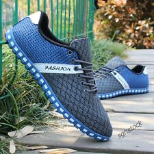 New Mens Mesh Breathable Casual Sneakers Flats Lace Up Sports Running Shoes Size