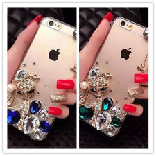 NEW 3D Bling  Rhinestone fox Crystal Luxury Clear Phone Case Cover For iPhone