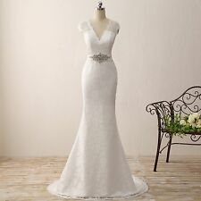 Cap Sleeve Lace Mermaid Wedding Dresses V Neck Beach Trumpet Garden Bridal Gown