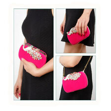 Womens Fashion Peacock Rhinestones Clutch Evening Shoulder Chain Bags Handbags
