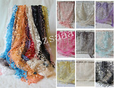 New Triangle Women Sheer Lace Knit Tassel Mantilla Hollow Wrap Shawl Scarf Hot